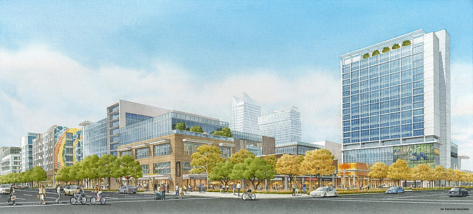 Rendering with streetscape view of Westfield Promenade 2035.