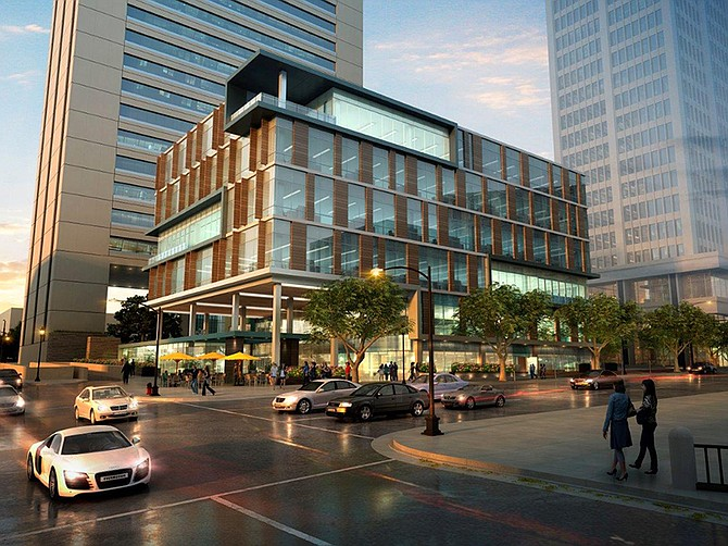 Rendering courtesy of Gensler. A six-story office building on B Street downtown will have a residential look.
