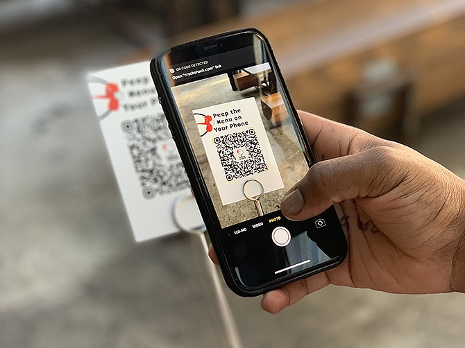 Photo courtesy of the Crack Shack. QR codes help patrons at the Crack Shack order food without touching any surfaces.