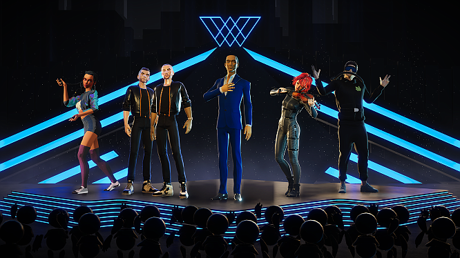 Wave's slate of performers — and their avatars — include artists such as John Legend (center), Lindsey Stirling (center right) and EDM duo Galantis (center left).