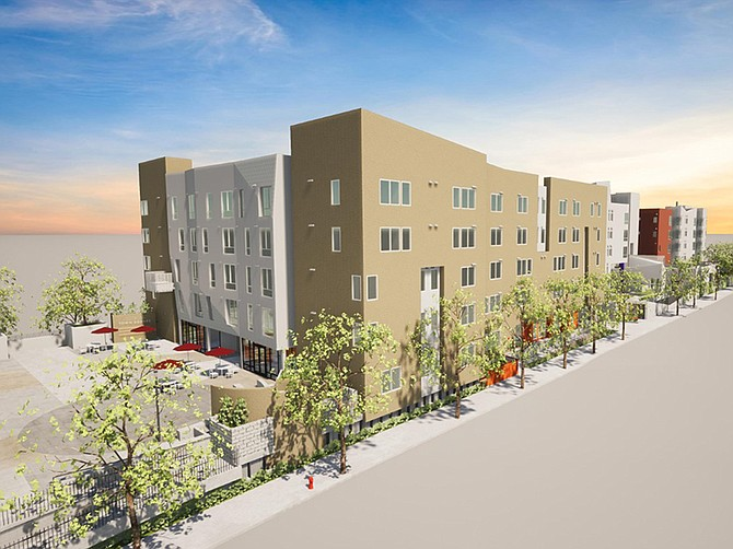 Rendering courtesy of Chelsea Investment Corp. Two five-story apartment buildings include units for seniors and families in adjacent buildings on a shared Mid-City site.