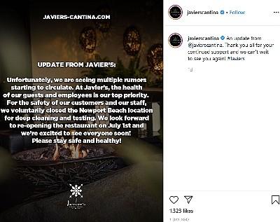 Javier's update to guests on Instagram.