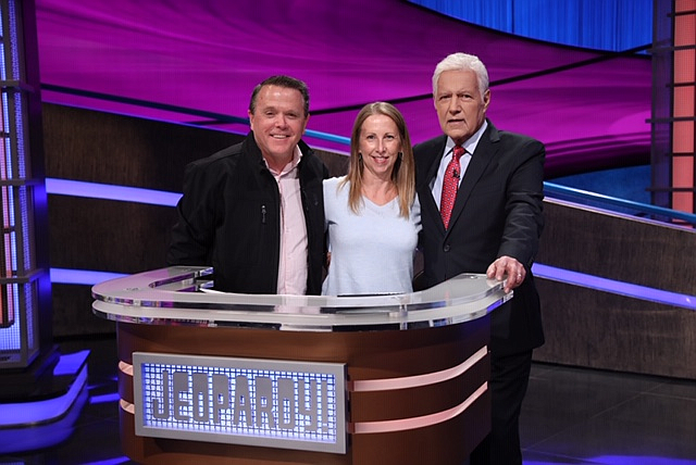 Hope of the Valley's Ken Craft, left, with wife Laurie Craft and Alex Trebek on 'Jeopardy' set.