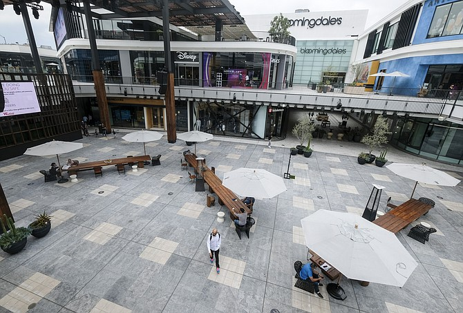 A largely empty Westfield Century City after reopening earlier this month.