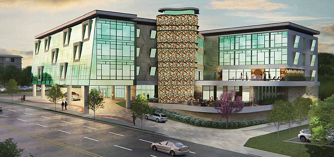 Rendering of proposed hotel in Woodland Hills.