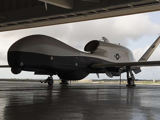 Photo courtesy of U.S. Navy. A U.S. Navy Triton at its air base in Guam in January. Australia's three Tritons will be similar to this air vehicle.