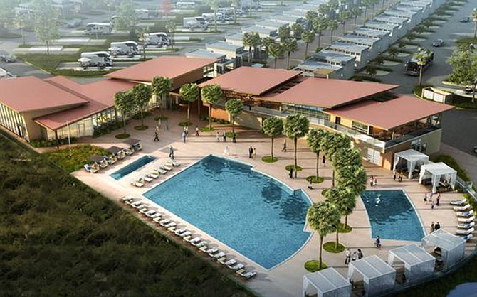 Rendering courtesy of Sun Communities. Work is proceeding on construction of a Chula Vista RV resort along the city's bayfront.