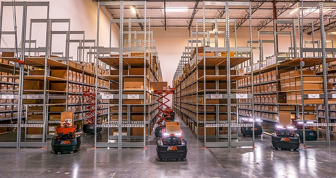 InVia's AI-powered robot adapts to warehouse infrastructure.