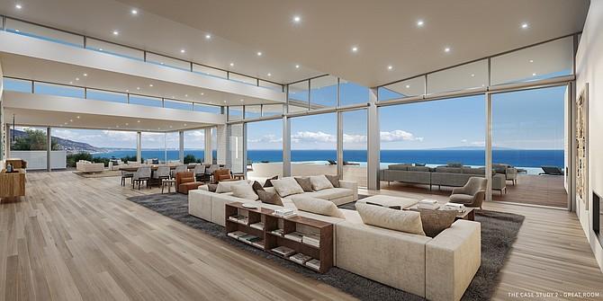 A rendering of Scott Gillen's $100 million spec home in Malibu.