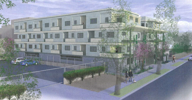 Rendering of proposed apartment complex at 6834-6840 N. Baird Ave. in Reseda.