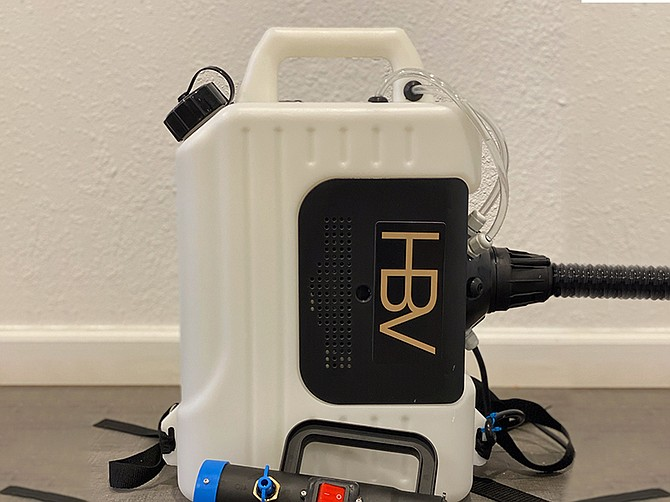 Photo courtesy of Always Be Hustlin Co. The ABH fogger comes in the form of a backpack and carries 250 gallons of disinfectant.