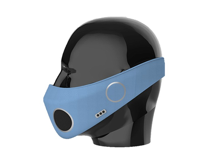 Photo courtesy of BioPPE. The mask's lightweight material adjusts with a velcro strap, housing internal Bluetooth 5.0 technology.