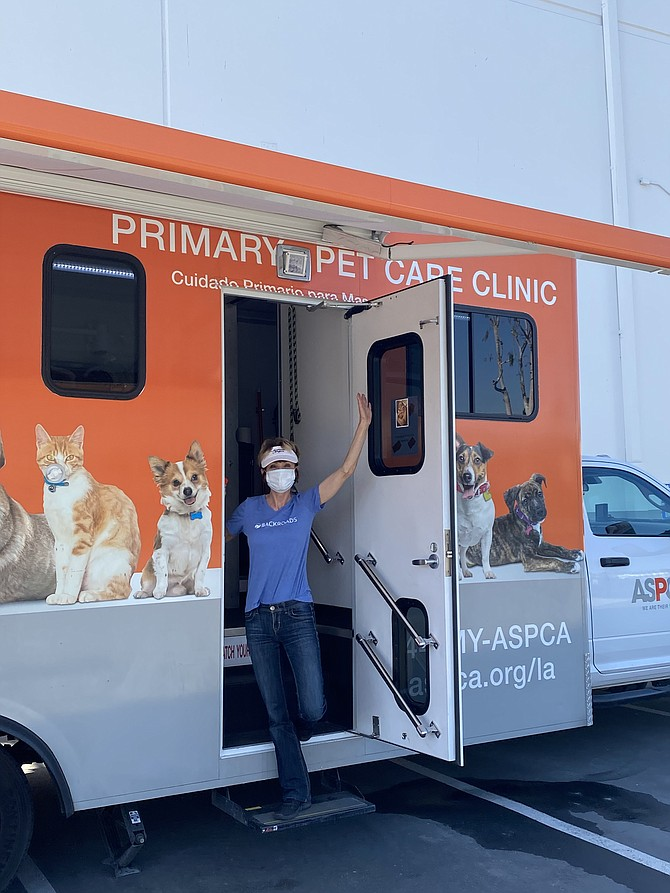 Kathy Taggares partnered with the ASPCA to provide free dog food and kitty litter and free vet services to thousands of drive-through visitors.