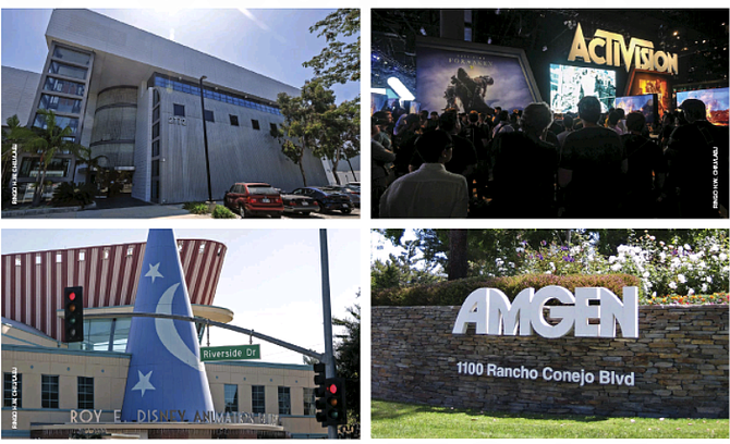 (Clockwise from top left) Snap Inc., Activision Blizzard Inc. and Amgen Inc. outpaced other public companies in L.A. over the past year, while Disney lost 21% of its market cap for the year.