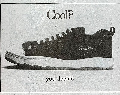An old ad for Simple Shoes