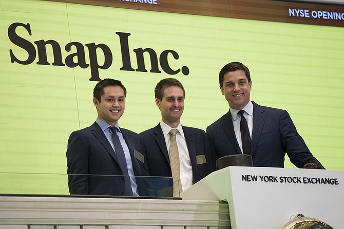 Snap's Bobby Murphy and Evan Spiegel (top left and middle) saw strong returns in the past 12 months.