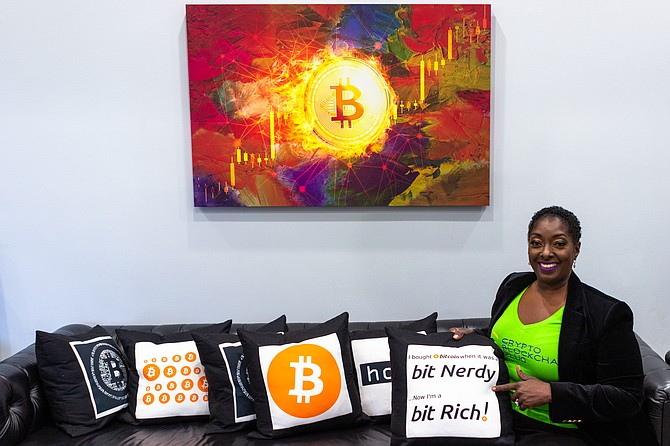 Crypto Blockchain Plug Inc. CEO Najah Roberts in the bitcoin room of her brick-and-mortar location.