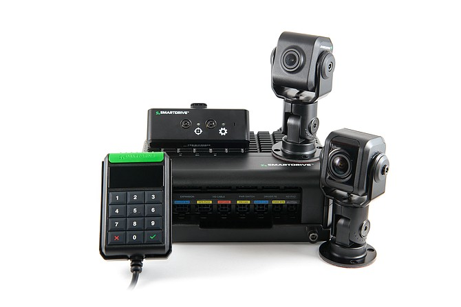Cameras and hardware from SmartDrive. On-board cameras offer 360° vehicle views, road and cab views, or road only vantage point options. Omnitracs announced on Sept. 9 that it plans to buy SmartDrive. Photo courtesy of SmartDrive Systems.