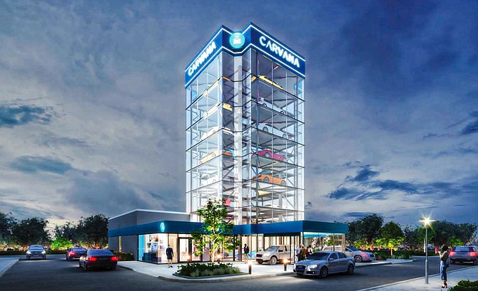 An artist's rendering shows a Carvana auto vending machine planned at Hale Avenue and Tulip Street in downtown Escondido. The project was approved by the Escondido City Council last week and completion is planned for 2022. Rendering courtesy of Carvana.
