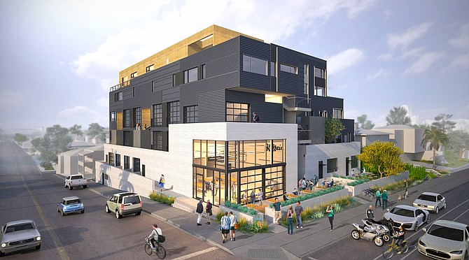 Buzz is a $9 million apartment project under construction on the east side of I-5 in Golden Hill. The architect is TFWA of Ocean Beach. Rendering courtesy of Rammy Urban Infill and Hub & Spoke Communities.