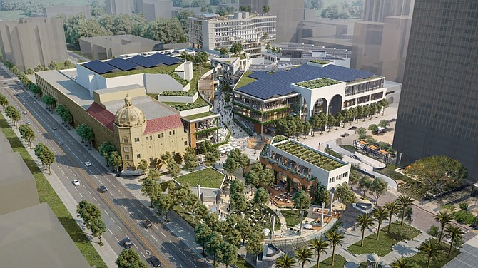 Work to transform the former Horton Plaza shopping mall into Campus at Horton with a mix of offices, retail space and restaurants is scheduled for completion next year. Rendering courtesy of Stockdale Capital Partners.