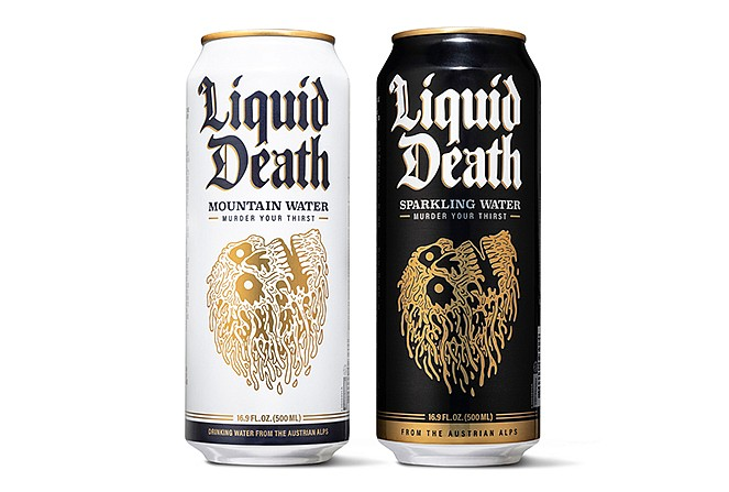 Liquid Death's still and sparkling water in its signature tallboy cans.
