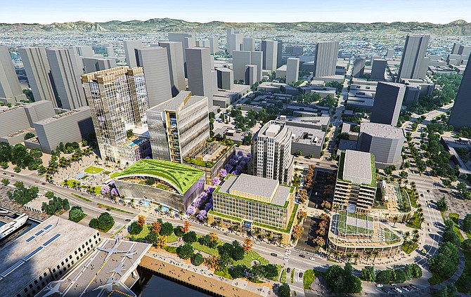 A real estate investment firm based in Solana Beach plans to build a $1.5 billion, three block long, life science campus on San Diego's downtown waterfront. Rendering courtesy of IQHQ.
