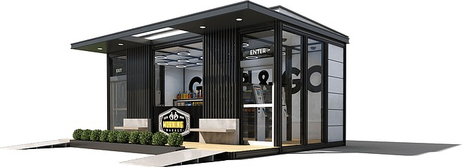 Concept mock-up of an automated grocery store. The startup can build modular stores for its customers, including cameras, sensors, and proprietary software. Rendering Courtesy of Accel Robotics.