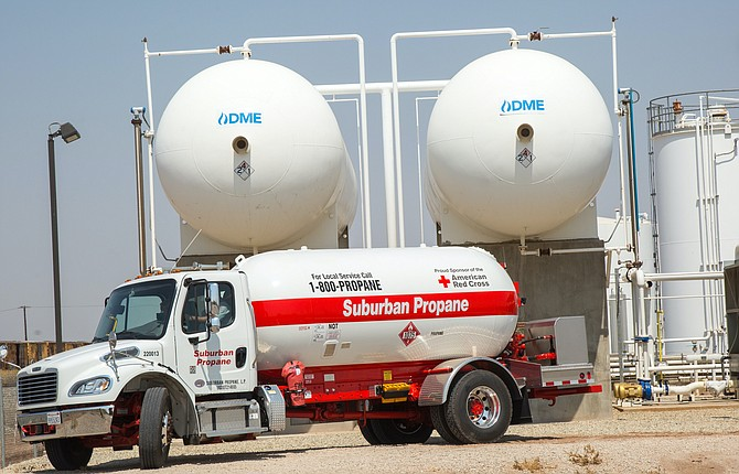 A Suburban Propane truck at the Oberon Fuels manufacturing plant in the Imperial Valley. The publicly traded company recently took a 39% stake in Oberon. Photo courtesy of Oberon Fuels.