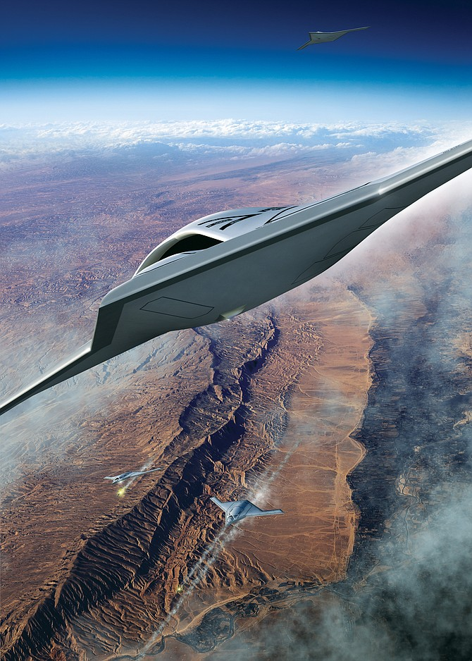 An artist's rendering shows Northrop Grumman Corp.'s concept for the MQ-Next aircraft. The U.S. Air Force wants such an aircraft by 2030. Rendering courtesy of Northrop Grumman Corp.