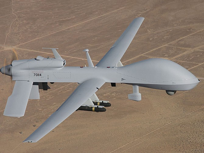Photo courtesy of General Atomics Aeronautical Systems Inc. The U.S. Army issued a $131 million contract to General Atomics Aeronautical Systems Inc. for work related to the Gray Eagle aircraft, like the one shown.