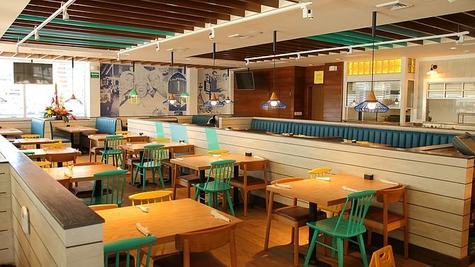 Interior of IHOP restaurant.