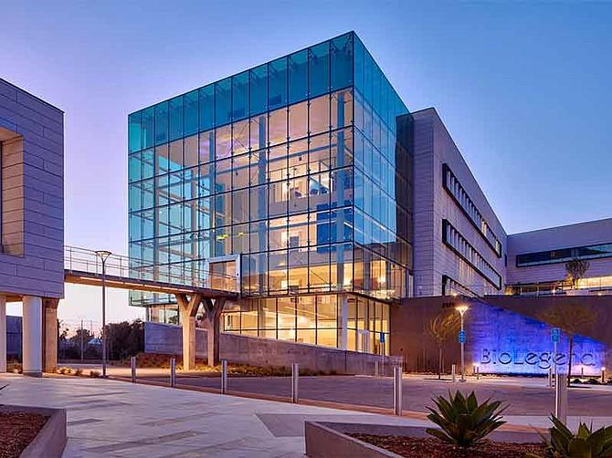Photo courtesy of BioLegend. BioLegend's new $100 million Sorrento Valley Campus,with its distinctive atrium, has won several design awards.