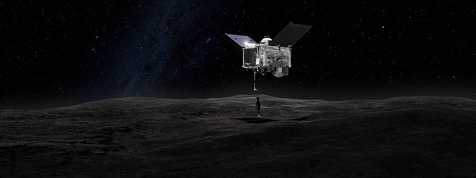 Rendering of OSIRIS-Rex spacecraft with Teledyne instruments approaching surface of Bennu.