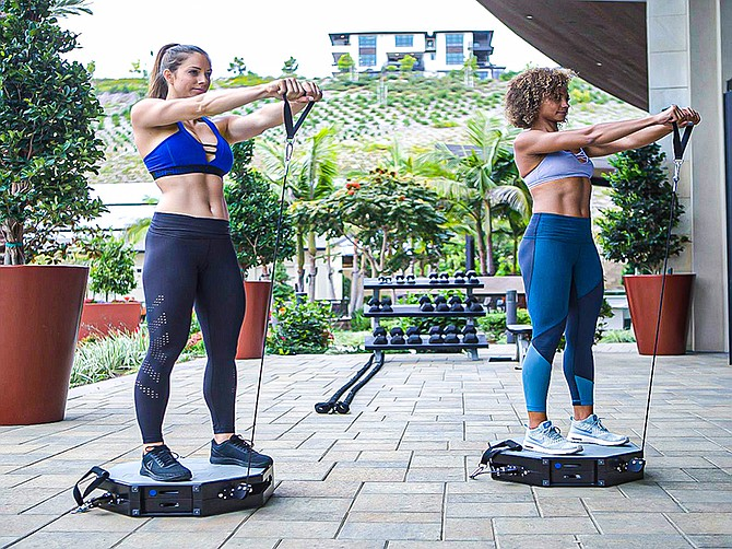 Photo Courtesy of BodyFly Fitness. The BodyFly was developed for both indoor or outdoor use, a 22-inch base, its size allowing for multiple machines to be used within group settings.