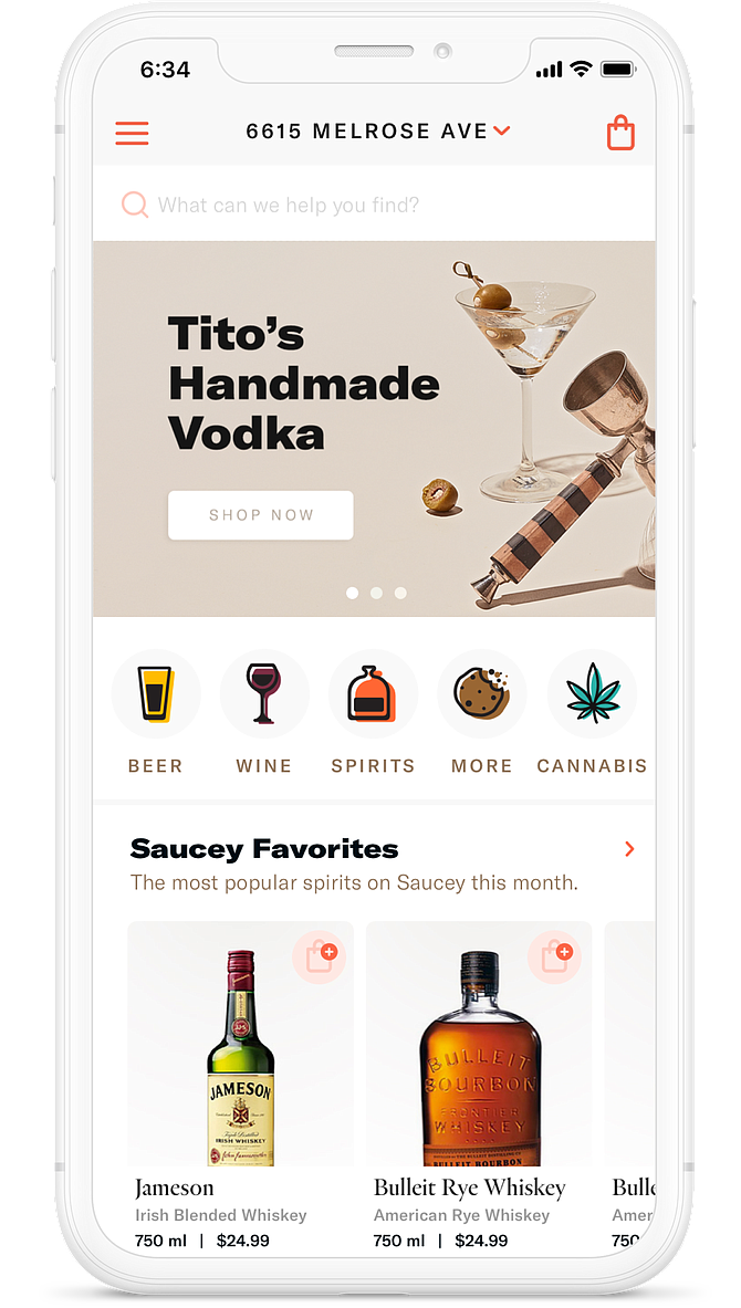 The Saucey app allows users to order alcohol for delivery.