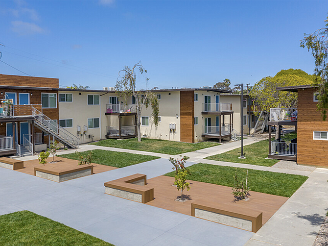 Photo courtesy of Avezta Equity. An Oceanside apartment complex was taken down to its studs in an extensive renovation project by Avezta Equity, Inc.