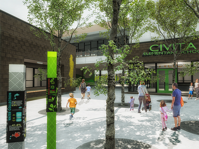 Rendering courtesy of C.W. Driver Companies. C.W. Driver Companies has started construction of a K-12 school in the Civita development in Mission Valley.
