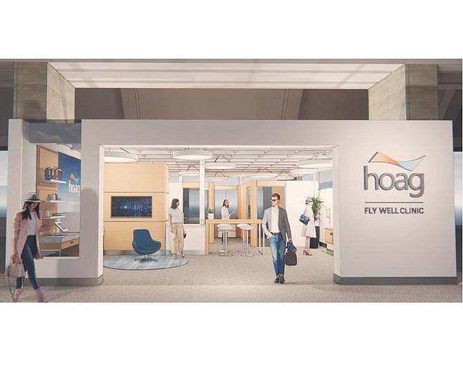 Rendering of Hoag's health clinic inside of John Wayne Airport