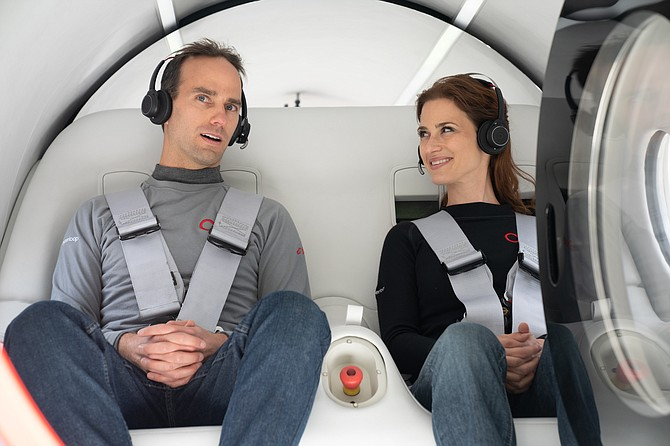 Chief Technology Officer Josh Giegel and passenger experience director Sara Luchian took the first ride in Virgin Hyperloop's test tunnel.