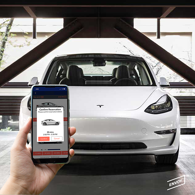 Envoy vehicles can be borrowed through an app-based rental service.