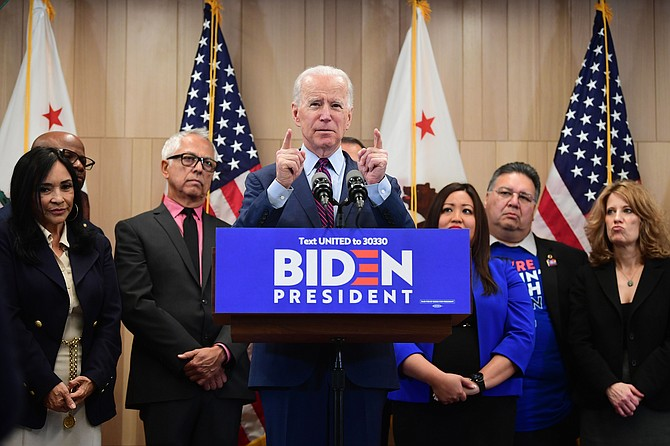 Joe Biden, shown visiting L.A. in March, could boost several local industries.