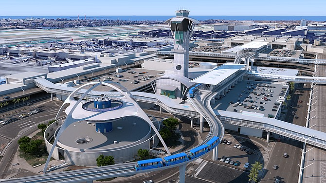 Construction on Terminal 9 will include a station to connect the people mover line now under construction at Los Angeles International.