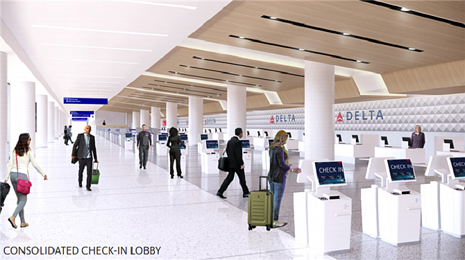 Faster progress: Planned consolidated lobby for Delta Air Lines' Terminals 2 and 3 at LAX now expected to open in mid-2023