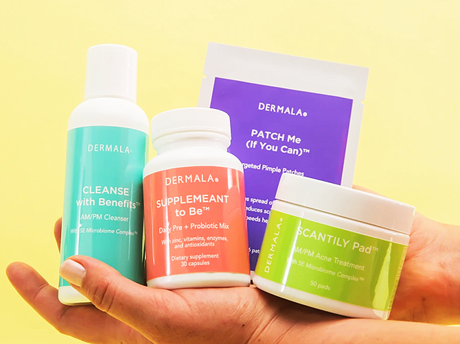 Photo Courtesy of Dermala Inc. The company's FOBO Kit, comprises multiple acne treatments and oral supplements paired with an Acne Tracker app, which enables customers to track their skin health.