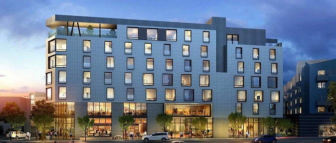 Rendering of hotel at 5057 Lankershim Blvd. in North Hollywood.