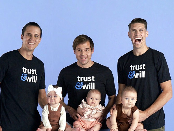 Photo Courtesy of Trust & Will. From left to right, Trust & Will's three co-founders Cody Barbo, Brian Lamb, and Daniel Goldstein. All three became newly fathers this year.