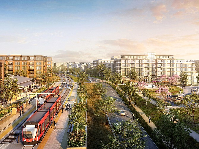 Rendering courtesy of Hines. A $3 billion Mission Valley project by Hines was recently approved by the San Diego City Council.