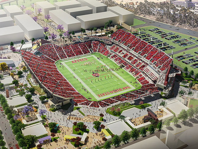 Photo courtesy of San Diego State University. Preliminary work is under way for construction of a new Aztec stadium in Mission Valley.