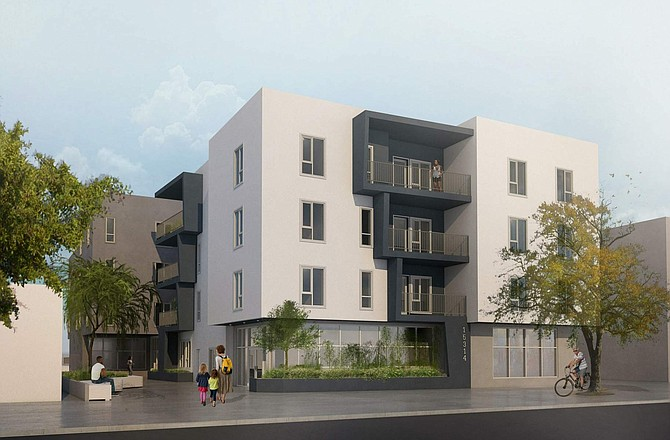 Rendering of Rigby Apartments at 15314 W. Rayen St. in North Hills.